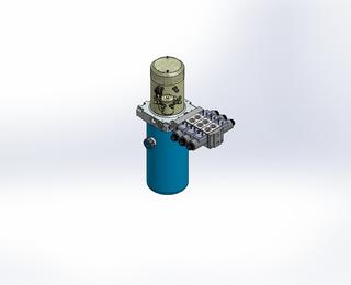 24v DC 7L/min 10-200bar 2.8L ROUND tank / vertical mount / 3 x valve