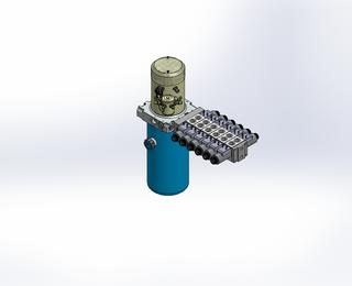 24v DC 7L/min 10-200bar 2.8L ROUND tank / vertical mount / 6 x valve