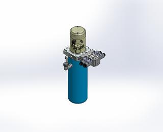 24v DC 7L/min 10-200bar 4.2L ROUND tank / vertical mount / 2 x valve