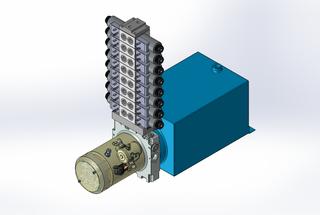 24v DC 7L/min 10-200bar 10.0L SQUARE tank / horizontal mount / 8 x valve
