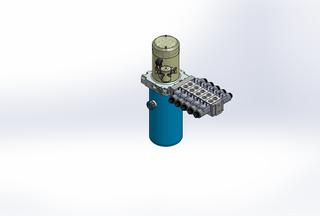 12v DC 7L/min 10-170bar 2.8L ROUND tank / vertical mount / 5 x valve