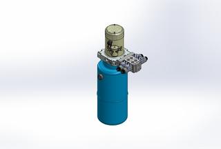 12v DC 7L/min 10-170bar 9.0L ROUND tank / vertical mount / 2 x valve