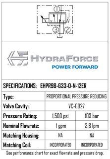 HYDRAFORCE EHPR98-G33-0-N-12ER PROPORTIONAL PRESSURE REDUCING RELIEF VALVE