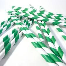 3Ply Paper Straws Regular Green and White