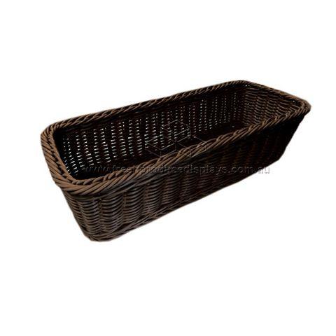 Polywicker Basket 400 x 150 x 100  mm Choc