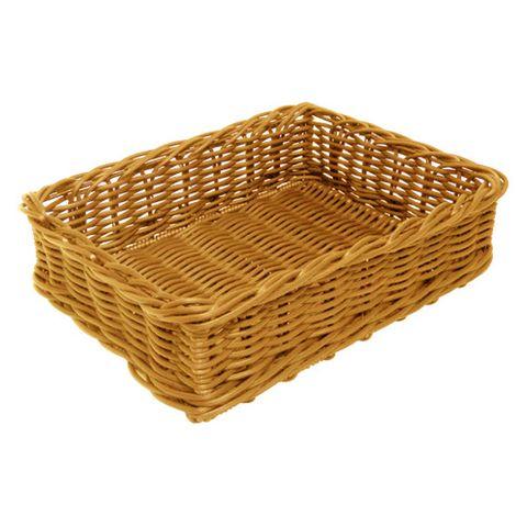 Rectangle Natural Polywicker Basket 400 x 300 x 100mm