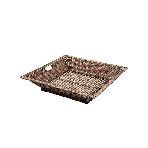 Chocolate Medium Square Polywicker Display Basket 750 x 750 x 150mm