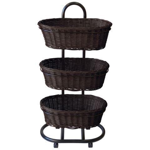 Poly Wicker 3 x Oval Basket Set Stand Chocolate
