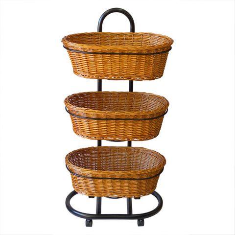 3 Oval Polywicker Basket Set Stand 500 × 580 × 1175mm