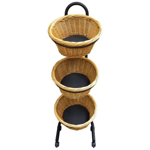 Three Round Wicker Baskets and Stand 500 × 500 × 1220mm