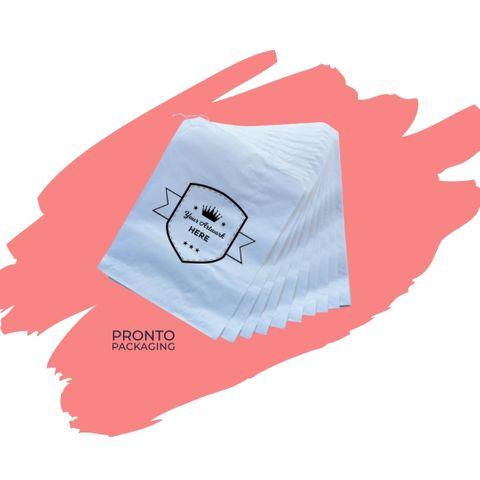 Custom Printed Paper Bag 3 Flat White 245 x 200mm 1 colour 1 sides