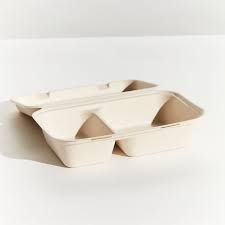 Large 2 Compartment Sugarcane Snack Box - Natural