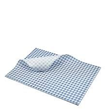 Gingham Greaseproof Paper Blue/White 215 x 300
