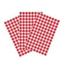 Gingham Greaseproof Paper Red/White 200 x 300