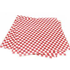 Gingham Greaseproof Paper Red/White 400x330