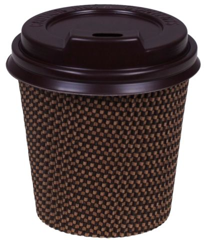 8oz Brown CheckA Cups 90mm Dia - Sleeve