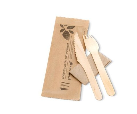 Wooden Fork Knife Napkin Pack