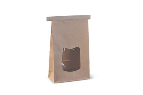 Large Window Tin Tie Bag - Brown 242 x 155 x 70mm