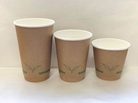 16oz Kraft Double Walled Cups Compostable 90mm Dia