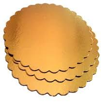 "Gold Scalloped Cake Circle 9.5"" 2Mm Thick"