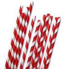 3Ply Paper Straws Regular Red & White Striped