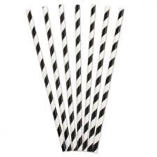 3Ply Paper Straws Regular Black and White