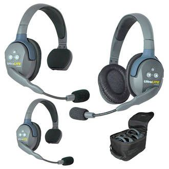 Eartec UltraLITE 3 Person System w/ 2 Single / 1 Dbl HS-Demo