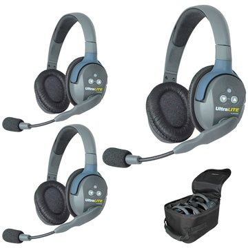 Eartec UltraLITE 3 Person System w/ 3 Double HeadSets - UL3D