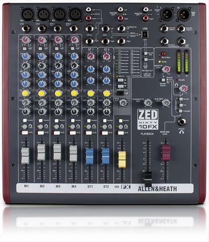 A&H ZED6010FX 4 Mono+2 St.Compact Mixer+2-Track USB I/Face