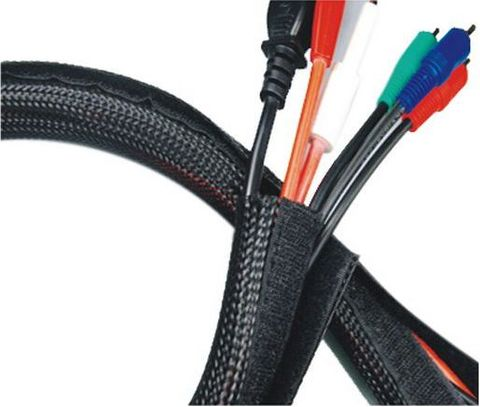 Cable wrap hook & loop flexible black - 20x32mm OD per meter