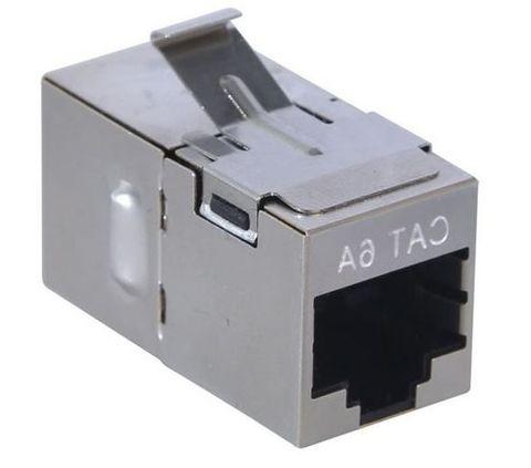 RJ45 Cat6a Shielded Keystone Through Adaptor