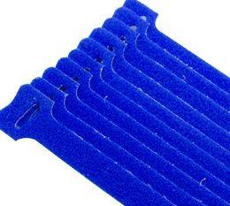 Cable tie hook & loop blue 200mm 10 pk
