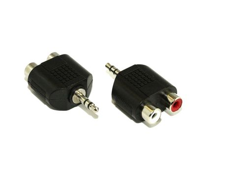 3.5mm Plug to 2x 2.5mm RCA socket splitter stereo M-F