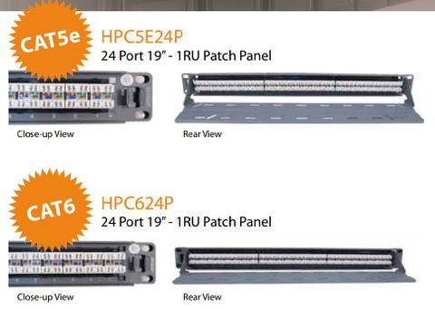 Cat6 24-port patch panel with rear cable manager