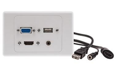 VGA, HDMI, USB and 3.5mm audio wallplate