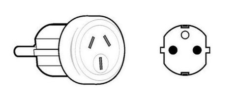 International travel adapter outbound Europe-Middle East-South America