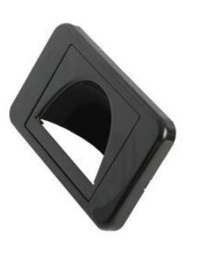 Wallplate with open hood bullnose inverted black