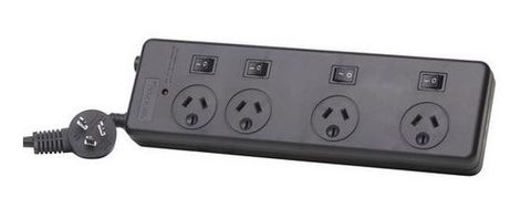 4-Port wide space socket powerboard 5m cord