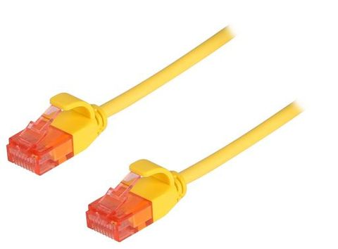 0.75m Cat6A Slimline unshielded yellow ethernet cable