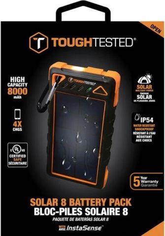 Tough Tested Power Pack 8000 mAh Solar/IP54/LED Dust/Shock/Rain Proof
