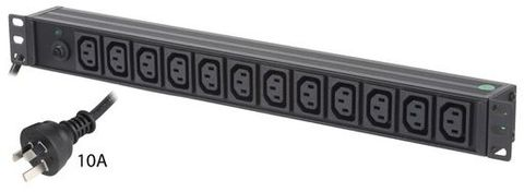 12-Port 10A IEC C13 output rack mount PDU power rail