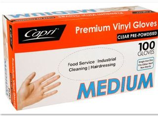 MEDIUM VINYL POWDERED CLEAR GLOVES 100S CAPRI