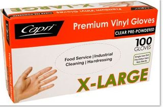 EXTRA LARGE VINYL POWDERED CLEAR GLOVES 100S CAPRI