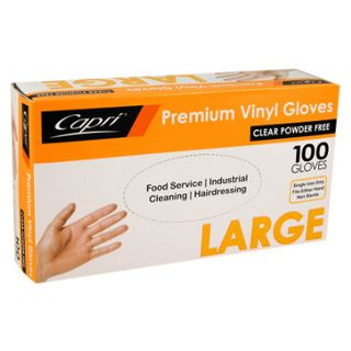 GLOVES LARGE VINYL CLEAR POWDER FREE 100S