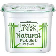 Yoghurt 1Kg European Natural Pot Set Farmers Union