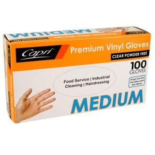 Gloves Medium Vinyl Clear Powder Free 100S