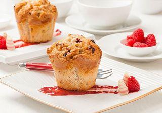 RASPBERRY & WHITE CHOCMUFFINS tray of 6 - Priestleys Gourmet Delights
