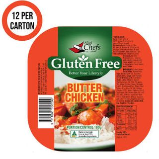 BUTTER CHICKEN GLUTEN FREE WITH RICE SINGLES 180GX12 ALLIED CHEF