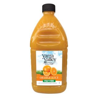 ORANGE JUICE PULP FREE 2LT YARRA VALLEY HILLTOP
