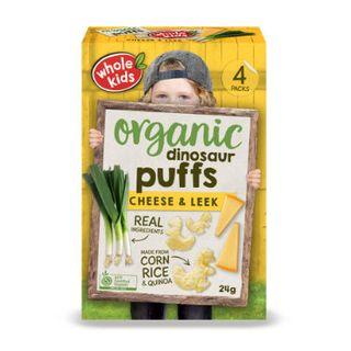 Organic Dinosaur Puffs - Cheese & Leek 4pk Multipa